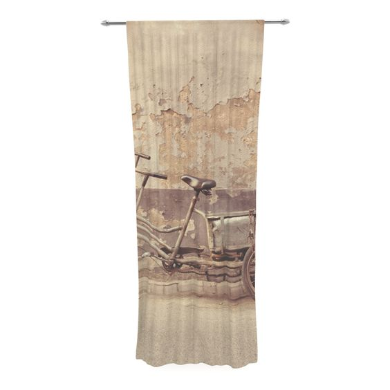 "Jillian Audrey ""The Gray Bicycle"" Brown Photography Decorative Sheer Curtain"