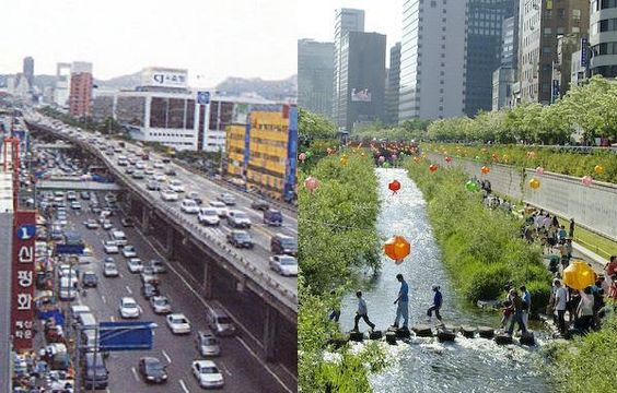 "HOT - ""The Cheonggycheon river restoration in Seoul. The project daylighted a river that was once covered by a highway."""