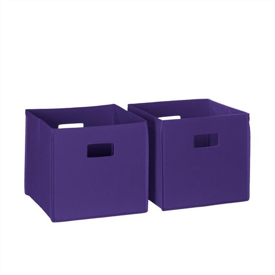 Riverridge Home 10 5 In X 10 In Folding Storage Bin Set In Dark Purple 2 Piece Toy Storage Bins Kids Storage Bins Storage Bins