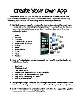 Students design their own App for an iPad with this creative writing activity. Includes description, planning pages, and final IPad template.