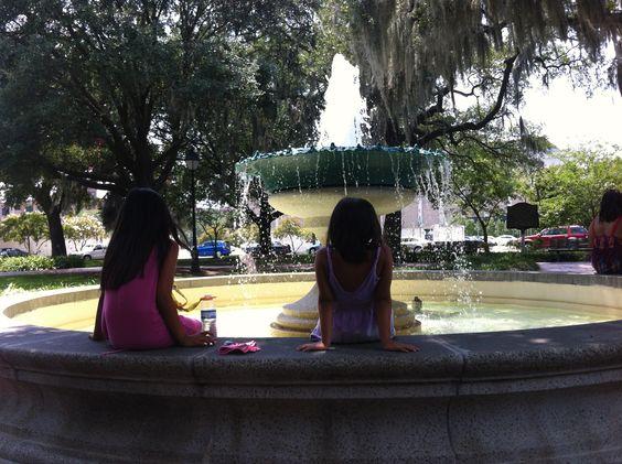 Oglethorpe Square in Savannah, near Cherry's old dorm