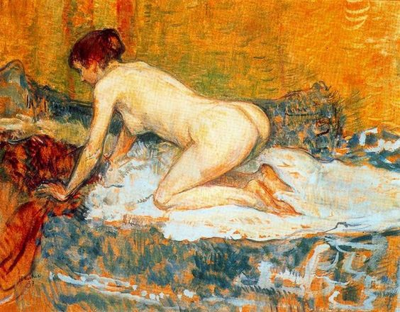 Mujer de pelo rojo agachada. Henri de Toulouse-Lautrec (24 noviembre 1864 hasta 9 septiembre 1901)