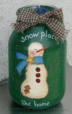 ,: Snowman Pattern, Winter Mason Jar, Winter Craft, Painted Christmas Mason Jar