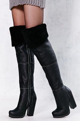 Black Jeffrey Campbell Buckman Shearling Thigh High Tall Boots ...