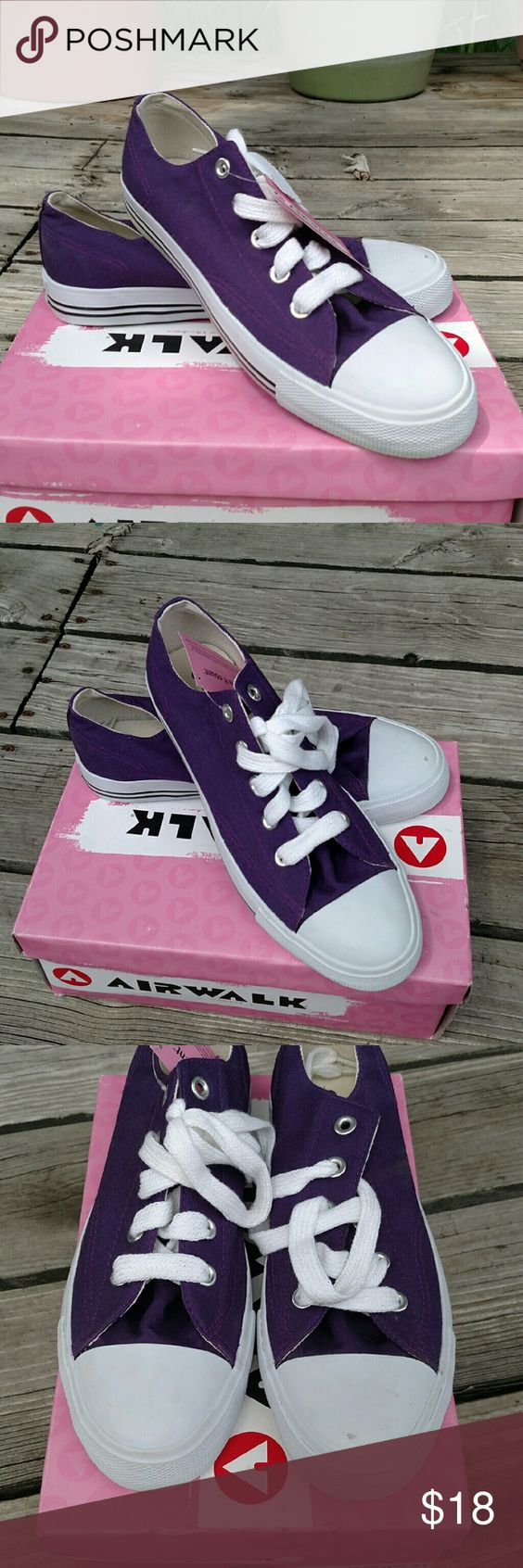 Airwalk Sneakers Size 8 Women's Airwalk Sneakers in purple. They have never been worn before and still have the original tags and box with them. There is a small scuff on the toe of the left shoe, but other than that, they are in excellent condition. Airwalk Shoes Sneakers