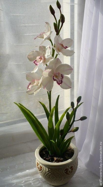Цветы ручной работы. Ярмарка Мастеров - ручная работа. Купить Орхидея Цимбидиум из полимерной глины. Handmade. Белый