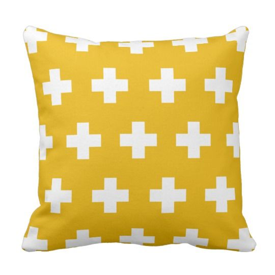 Aztec Zigzag In Mustard Yellow And White Throw Pillow Zazzle Com