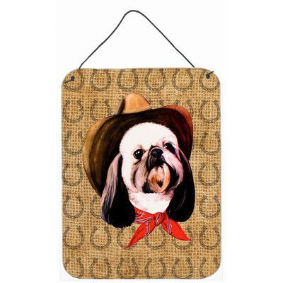 Caroline's Treasures Shih Tzu Dog Country Lucky Horseshoe by Suzanne Powers Painting Print Plaque