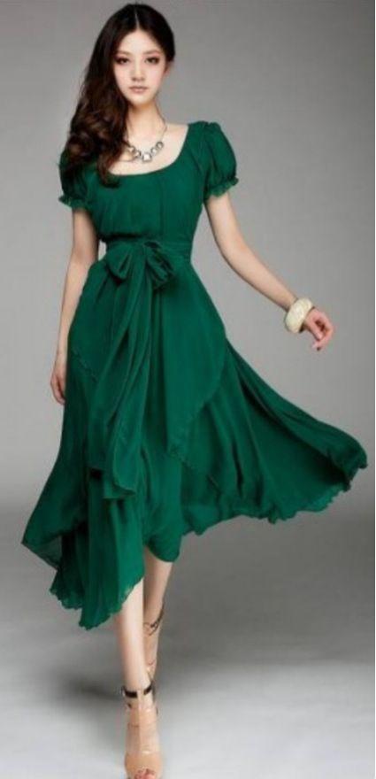 Irregular Hem Chiffon Dress
