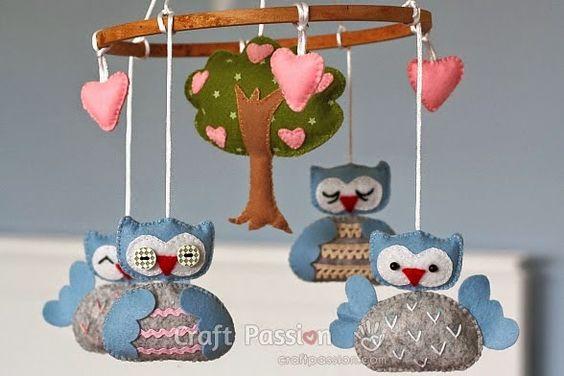 ARTE COM QUIANE - Paps,Moldes,E.V.A,Feltro,Costuras,Fofuchas 3D: Molde Móbile de corujas com árvore e coração de feltro