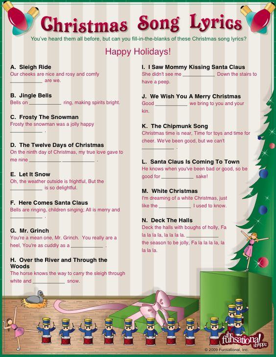 Kids christmas, Songs and Christmas songs lyrics on Pinterest