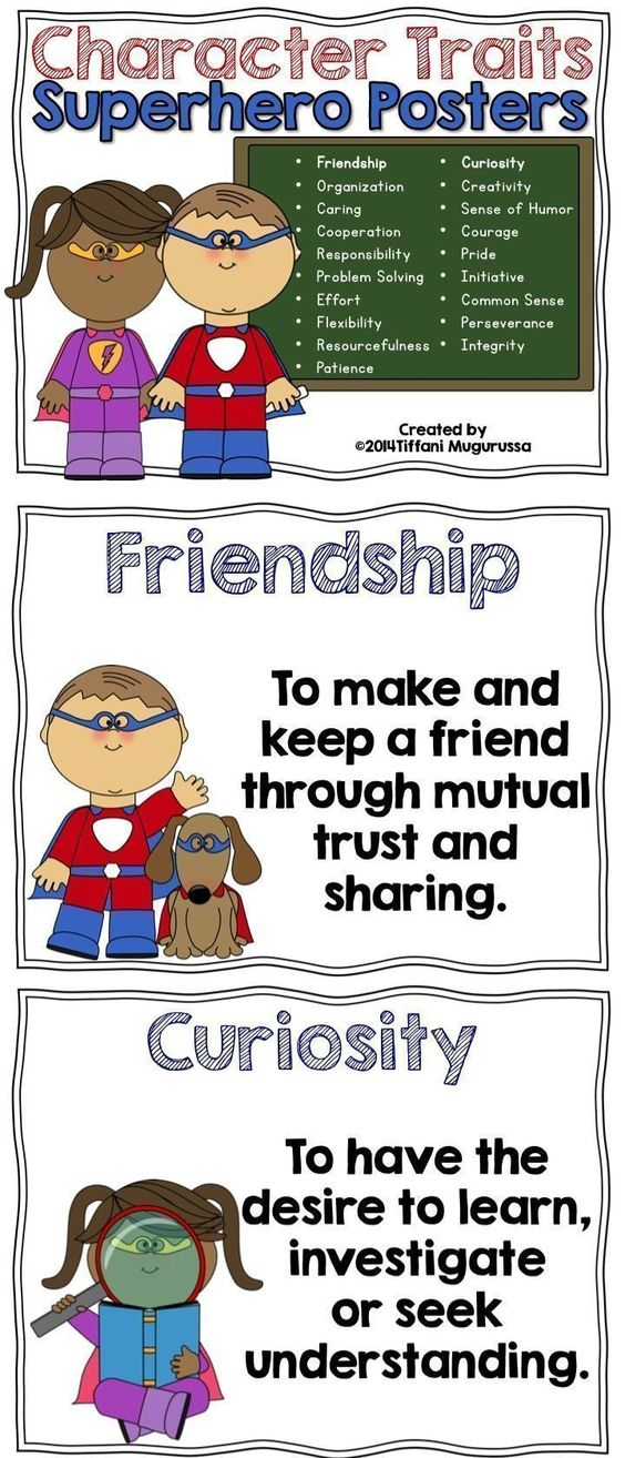 Character Traits- Life Skills posters with a superhero theme.