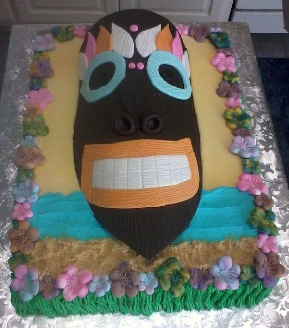 Tiki mask cake