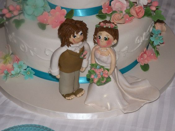 Bride and Groom - Gumpaste/fondant bride and groom made for my daughter's wedding.