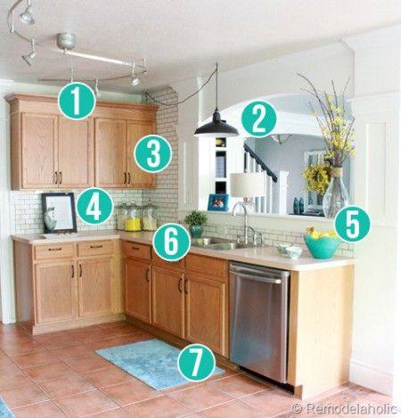 Get this look park house with oak kitchen cabinets for Builder grade oak kitchen cabinets