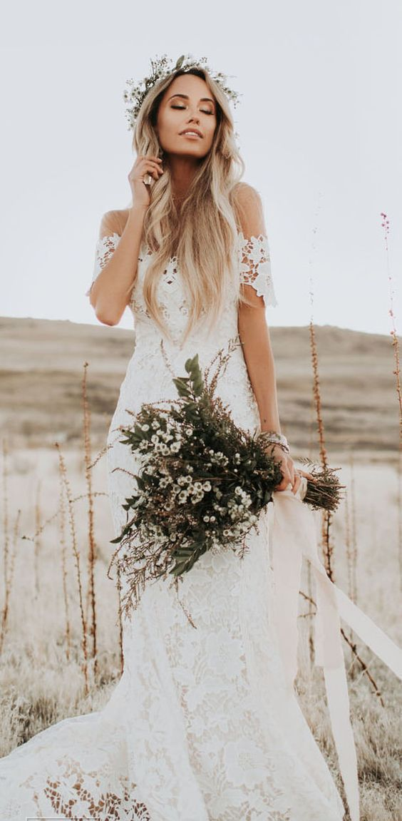 Ivory Mermaid Lace Rustic Wedding Dresses Illusion Neckline Beach