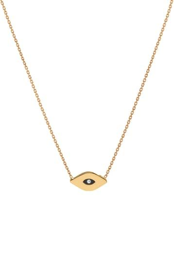 14k gold evil eye necklace by Letters by Zoe | Spring - Free Shipping. On Everything
