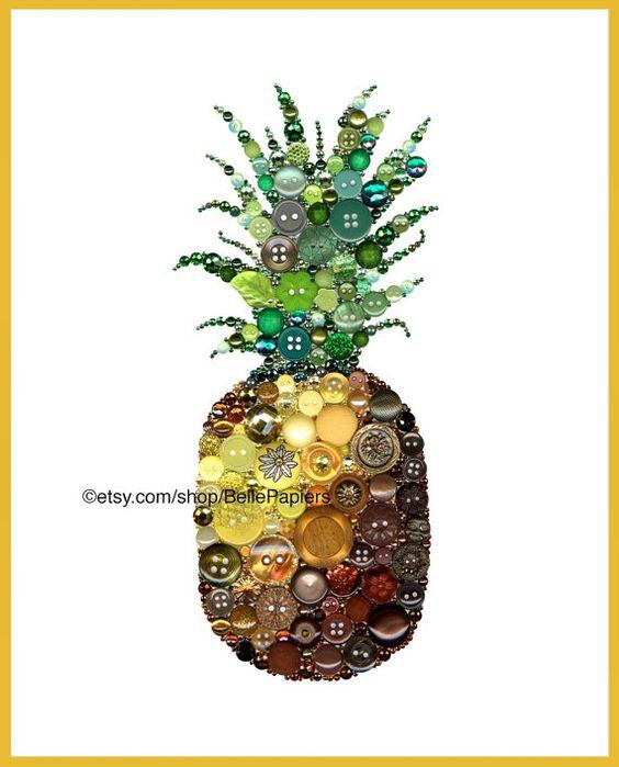 Arte piña arte Swarovski arte botón & Swarovski por BellePapiers