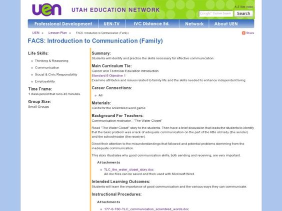 FACS: Introduction to Communication (Family) Lesson Plan | Lesson ...