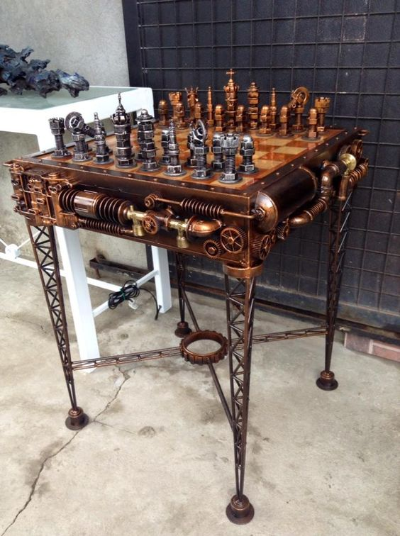 http://www.steampunktendencies.com/  Epic steampunk chess set and table