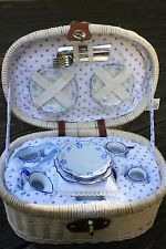 Children's Tea Set in White Oval Picnic Basket with Flatware, New, Never Used