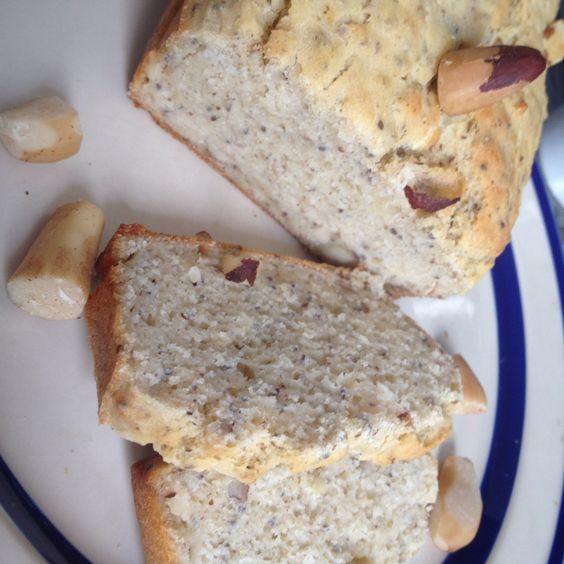 Pão integral de castanhas do Pará Sem gluten, sem leite ovos caipira , farinha de gergelim, linhaça e amaranto.  Semente de chia para polvilhar  Pysk Funcional
