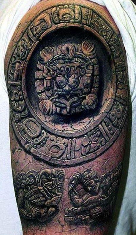 Stone tattoo 3d google zoeken tattoo lion pinterest for Aztec lion tattoo meaning