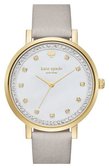 kate spade new york kate spade new york 'monterrey' leather strap watch, 34mm available at #Nordstrom