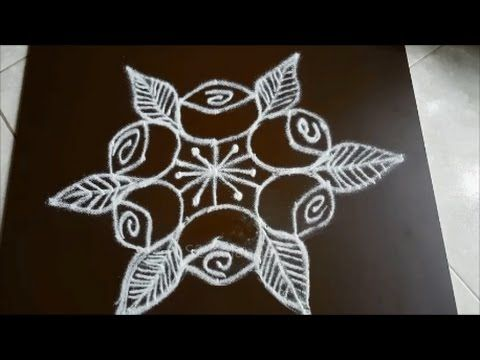Simple Flower Kolam With 7 To 4 Interlaced Dots Youtube Rangoli Designs Colorful Rangoli Designs Rangoli Designs Images