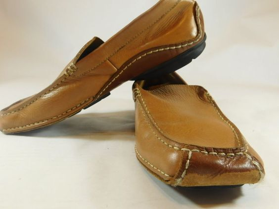 Linea Uomo Men's Size 13M Tan Leather Driving Moccasins Slip On Casual Shoes #LineaUomo #DrivingMoccasinSlipOnCasual