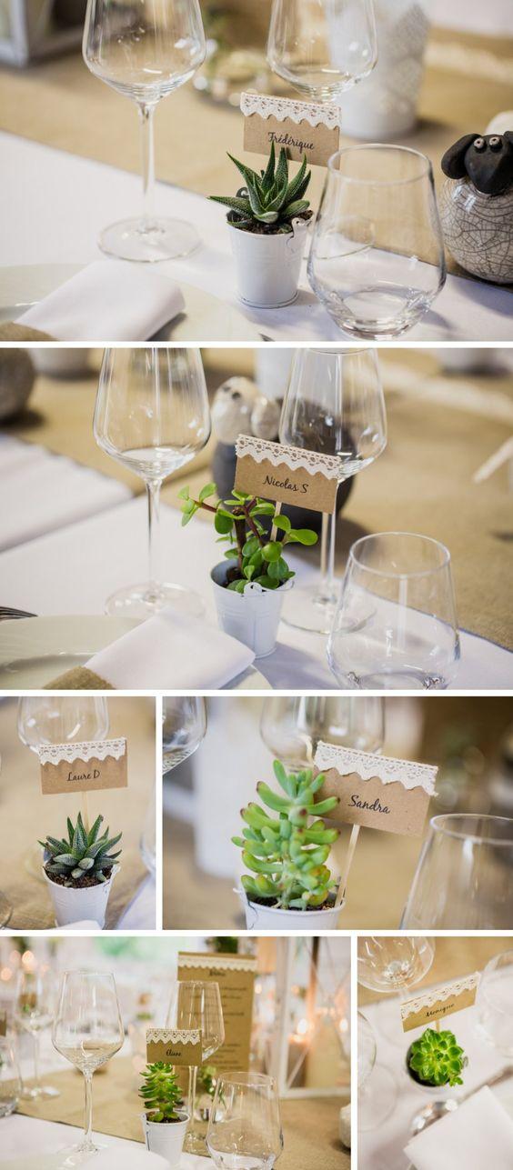 Plantes grasses cadeaux aux invit s succulentes d co et - Decoration de table mariage ...
