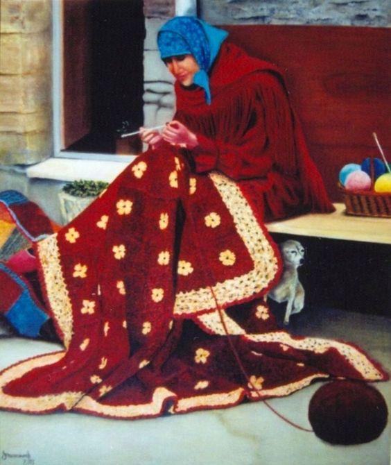 Quadro Pintura by Jorge Marcovich Oil Painting Moça tecendo colcha - girl weaving quilt