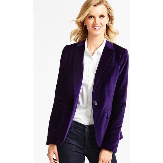 Talbots Women's The Velveteen Blazer ($129) ❤ liked on Polyvore featuring outerwear, jackets, blazers, long purple jacket, long blazer, single button blazer, one button blazer and purple blazer