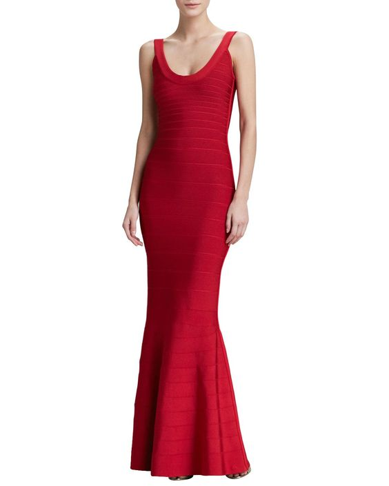 Scoop-Neck Bandage Gown, Size: X-SMALL, Lipstick Red 616 - Herve Leger