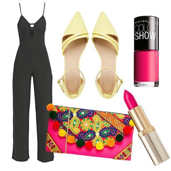 It's all about the details! Een effen jumpsuit als deze kun je hartstikke leuk aankleden met fleurige vrolijke accessoires. Je vindt al deze items via Aldoor in de uitverkoop! #sale #kleurrijk #geel #roze #mode #lippenstift #nagellak #rimmel #London #Loreal #paris #colorful #pink #yellow #nailpolish #lipstick #fashion #inspiration #look #style #accessories