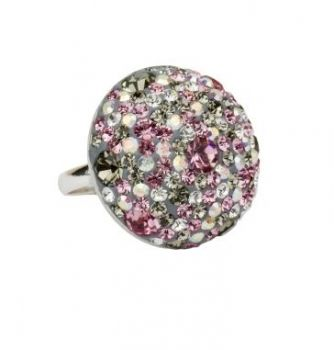 Schmuck-Design24 -   Ring rose curl   925 Sterling Silber rhodiniert mit Kristallsteinen rose curl Ø ca. 25 mm