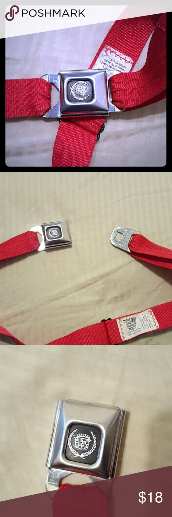 Cadillac SeatBelt Belt This awesome red belt is adjustable. Item is gently worn without rips or damage Accessories Belts