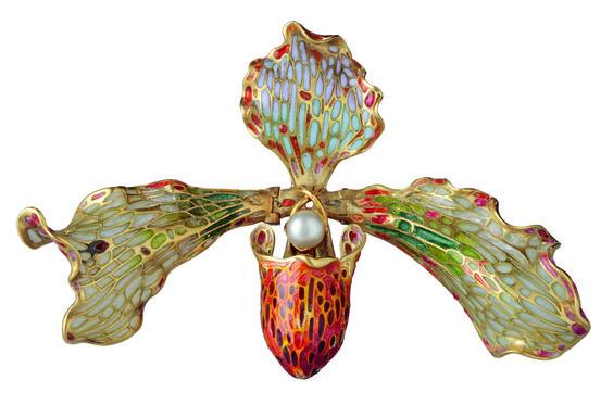 ORCHID BROOCH, (c. 1902-1905) Gold, enamel, pearl: