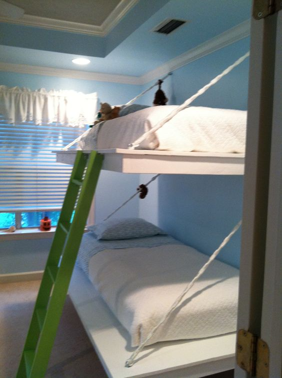Girls ps and the top on pinterest for Suspended bed plans