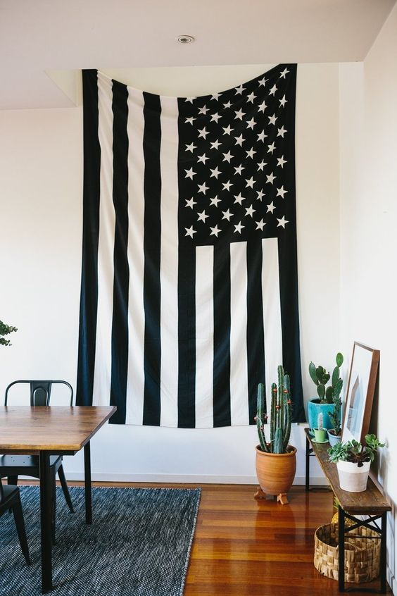 Jess' Colourful Urban Townhouse; love this black and white flag