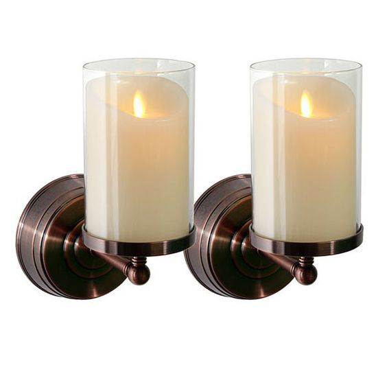 Wall Sconces For Wax Candles : Wax candles, Bronze finish and Luminara candles on Pinterest