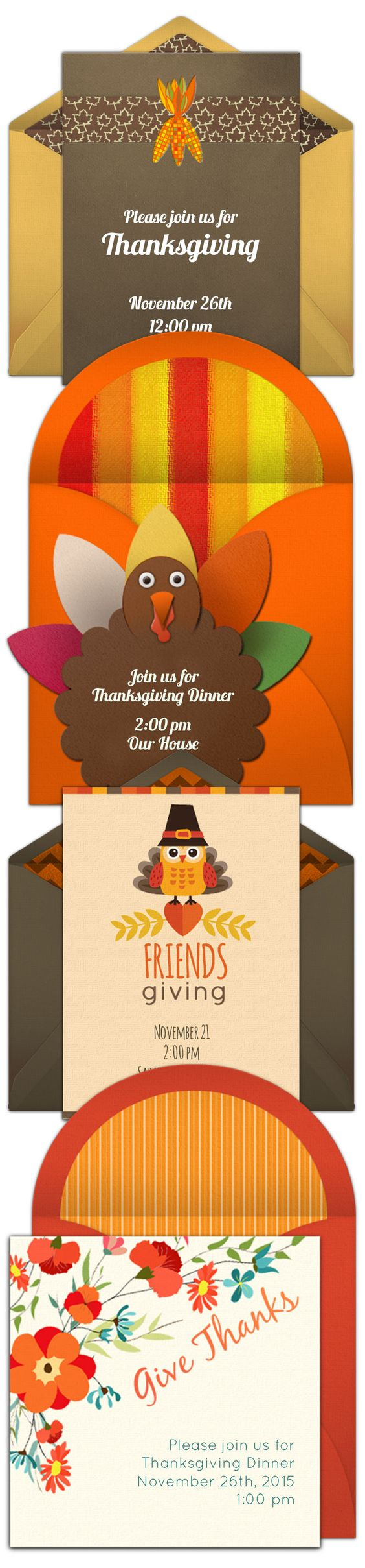Paper invites are too formal, and emails are too casual. Get it just right with online invitations from Punchbowl. We've got everything you need for your Thanksgiving party. http://www.punchbowl.com/online-invitations/category/25/?utm_source=Pinterest&utm_medium=17.6P