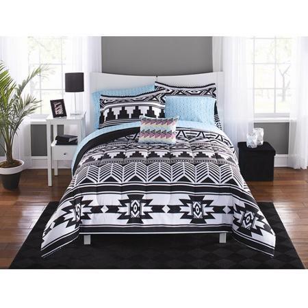 mainstays tribal black and white bed in a bag bedding set walmart 3988 bedroom white bed set