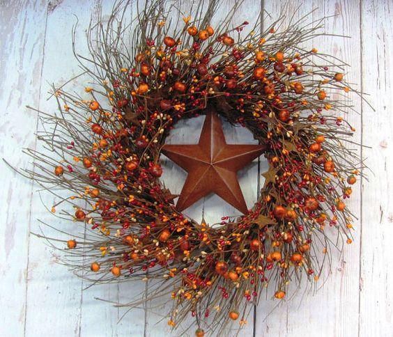Thanksgiving Wreath  Fall Pumpkin Berry & Rusty by Designawreath