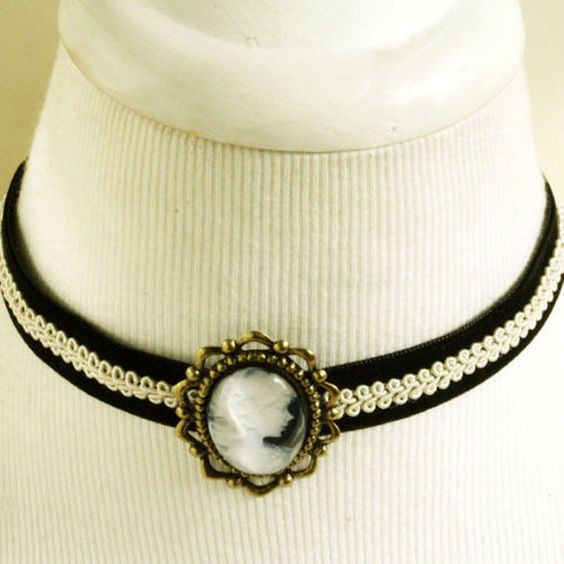 Gothic black velvet white lace cameo Steampunk by AnyAnne on Etsy