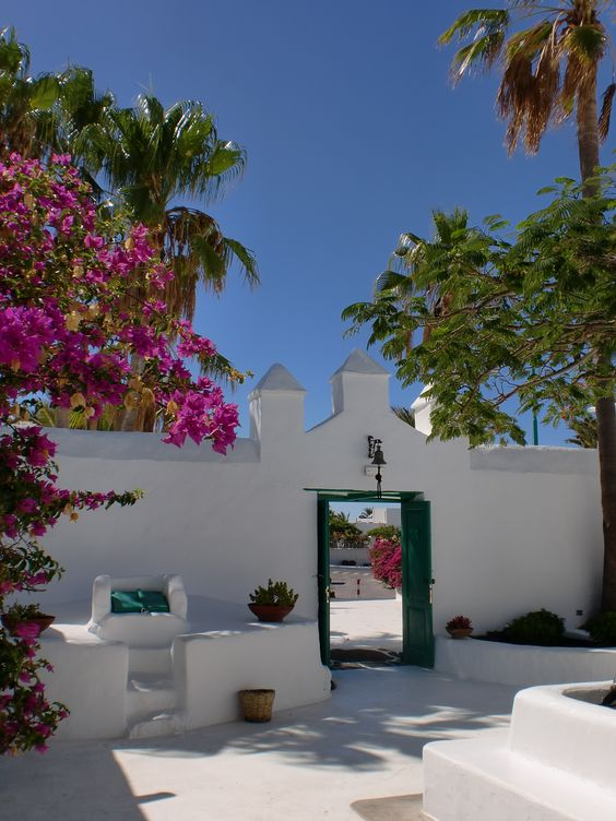 A courtyard of a house in Yaiza. Lanzarote. Canary Islands.: