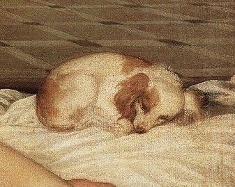 """Tiziano Vecelllio - Detail from """"Venere di Urbino"""" (1538; Firenze, Galleria degli Uffii)"""