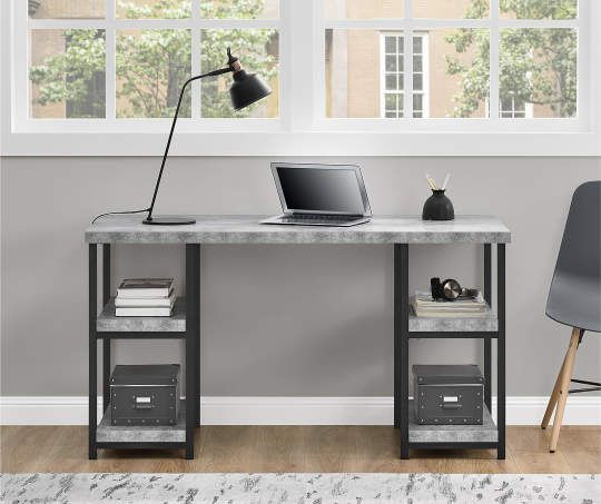I Found A Black Concrete Pedestal Desk At Big Lots For Less Find More At Biglots Com Pedestal Desk Grey Desk Desk