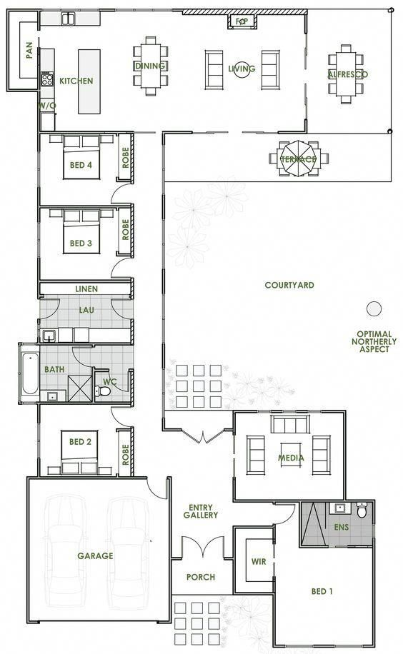 The Elara Offers The Very Best In Energy Efficient Home Design From Green Homes Australia Ta Open Floor House Plans U Shaped House Plans Courtyard House Plans
