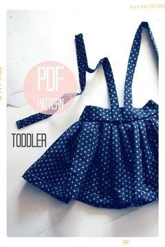 High Waist Suspender Skirt + Sash Sewing Pattern - Baby + Toddler (18 months, 2T + 3T) - Sewing Patterns at Makerist